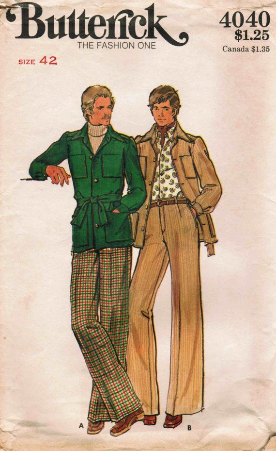 Cover of a 1970s fashion magazine with a drawing of two men wearing colorful period leisure suits