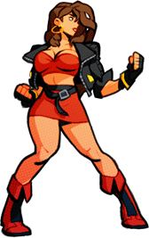 Character art of Blaze from Streets of Rage 4, a lean woman wearing a revealing and club-ready red outfit and leather jacket, in a fighting stance.