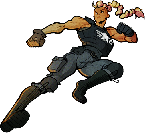 Character art of Estel from Street of Rage 4, a muscular policewoman performing a flying kick.