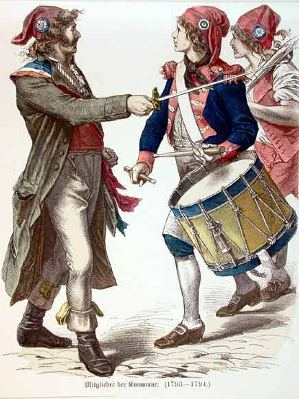 A drawing of three French Revolutionaries wearing Phrygian caps and tricolor cockades.