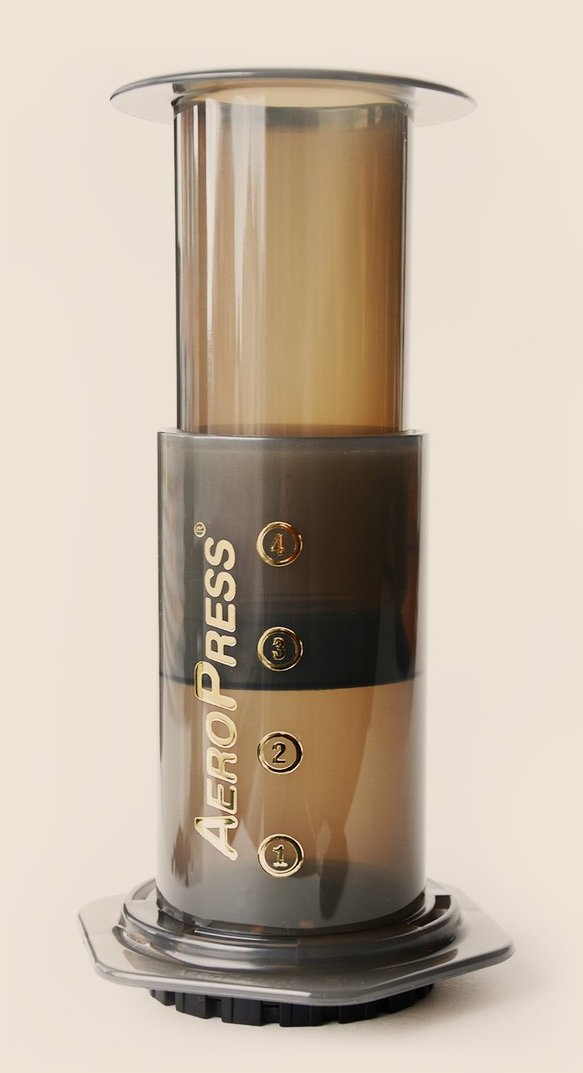 Photograph of an Aeropress coffee maker.