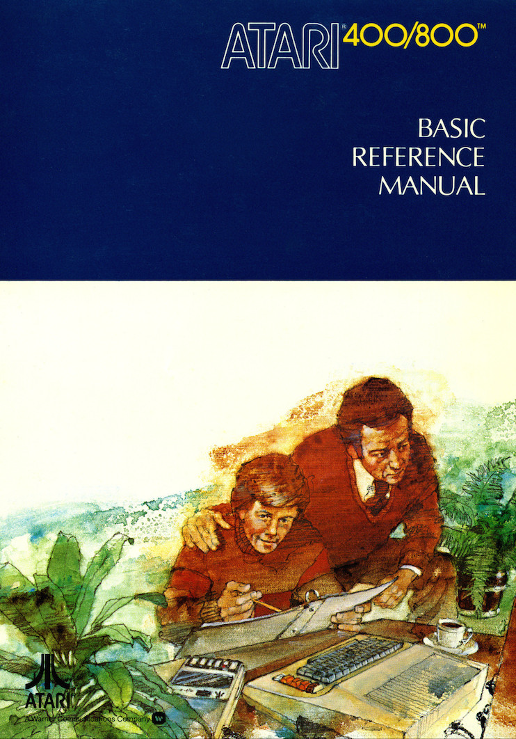The front cover of the Atari 400/800 Basic Reference Manual, depicting a late-70s-looking father and son programming a late-70s-looking computer together.