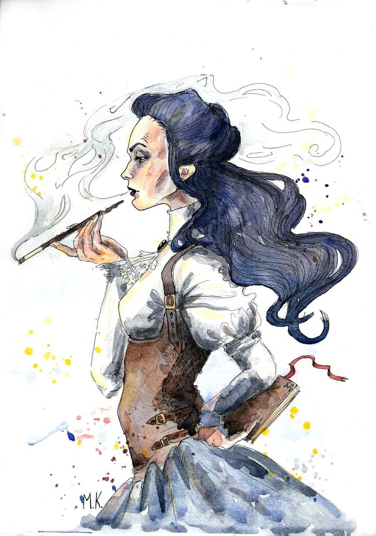 An ink-and-watercolor drawing of a middle-aged woman wearing a leather girdle over a white top and gray skirt, deep in thought, with a cigarette in one hand and a book in the other.