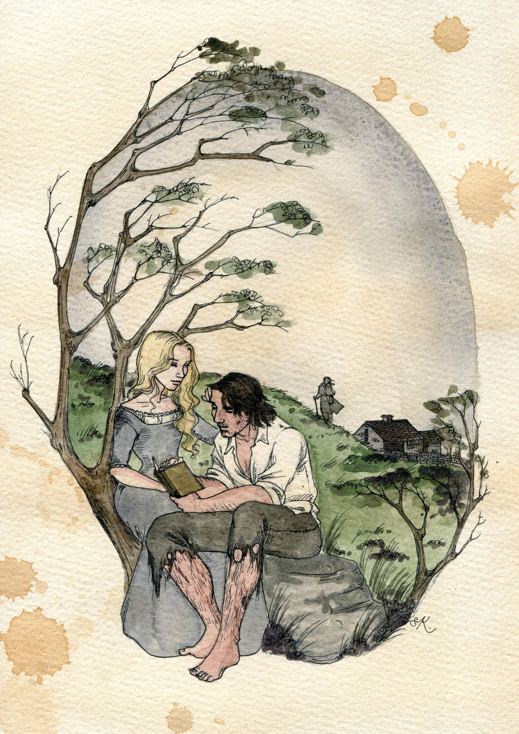 A watercolor painting of Cathy sitting with Hareton under a tree, teaching him to read.