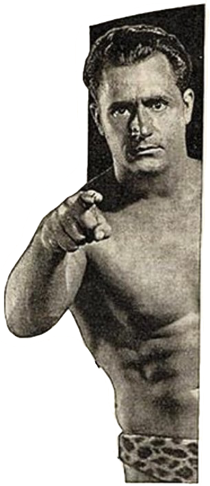 Photograph from an old magazine ad featuring muscleman-entrepreneur Charles Atlas in his leopard-pattern briefs, pointing at you the reader.