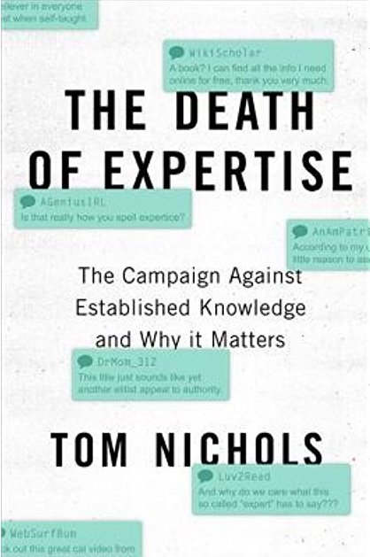 Front cover of the book 'The Death of Expertise' by Tom Nichols