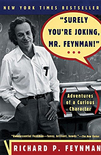 Cover of the book, depicting a smiling, middle-aged Feynman at a chalkboard.