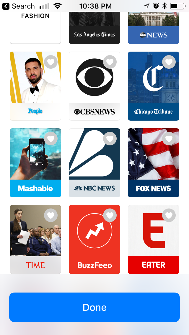 A screenshot of Apple's News app, running on an iPhone, showing Fox News as a prominent option.