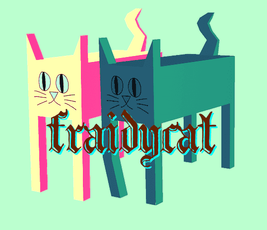 The Fraidycat logo, two low-polygon cats walking along with 'fraidycat' displayed over them