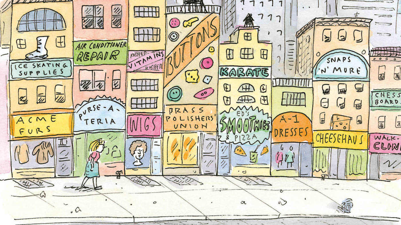 Cartoon image of a woman walking along a Manhattan sidewalk, down past densely stacked storefronts with signs like 'Kosher vitamins' and 'Purse-a-teria' and 'Brass polishers union' and so on.