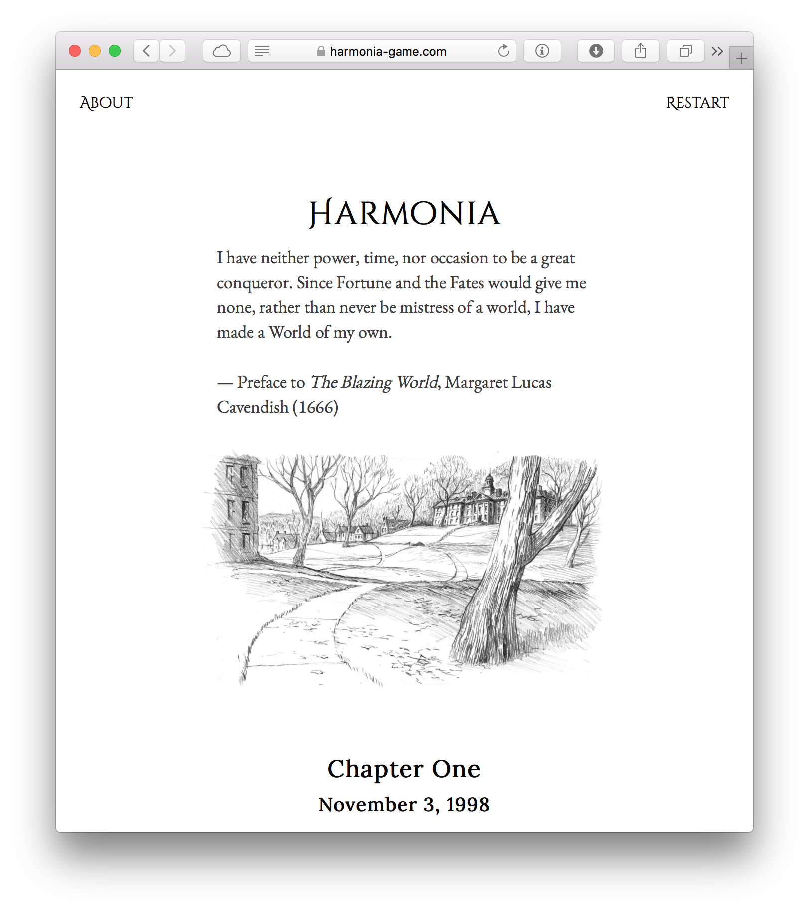 A screenshot of the opening of Harmonia by Liza Daly.