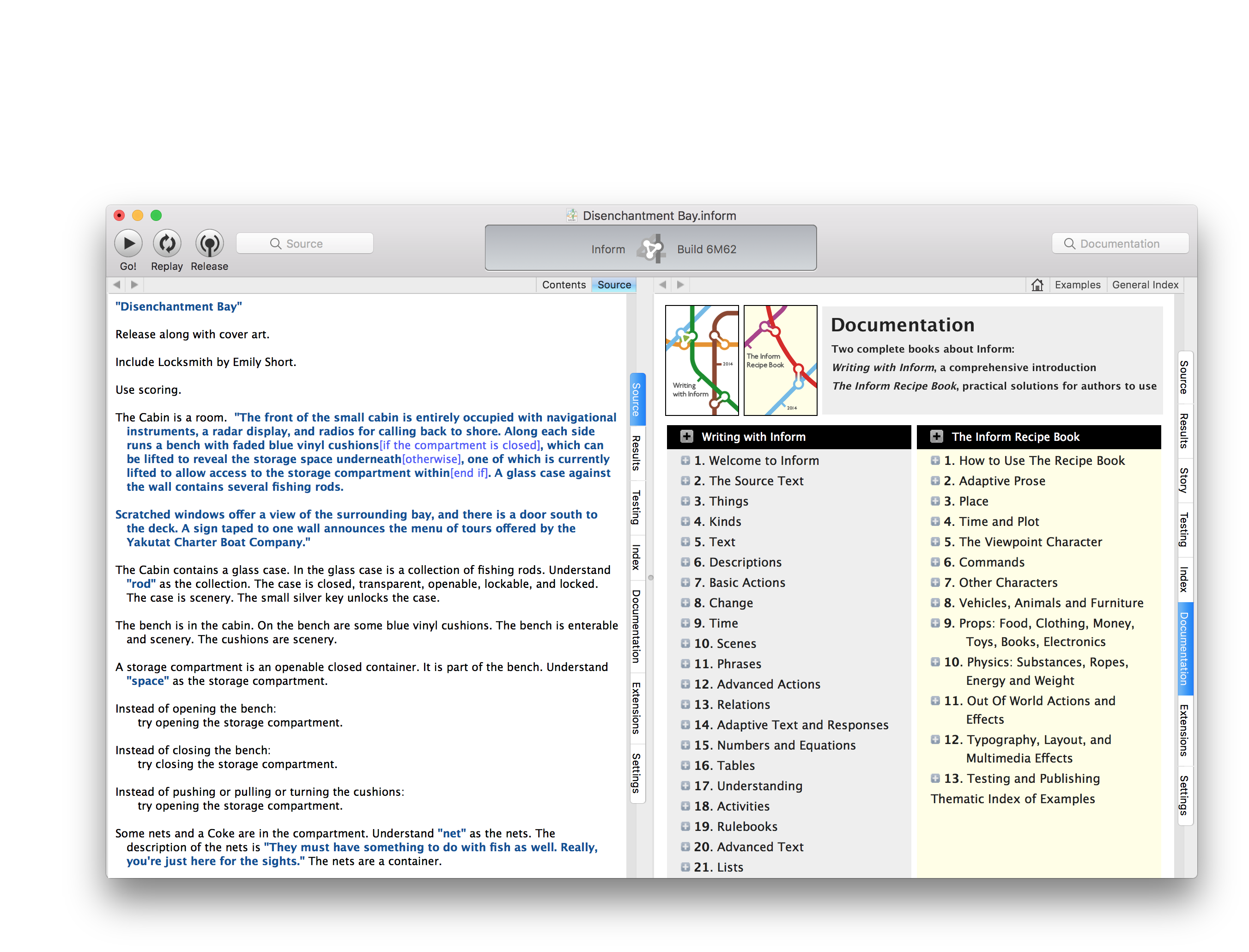 A screenshot of the Inform 7 IDE.