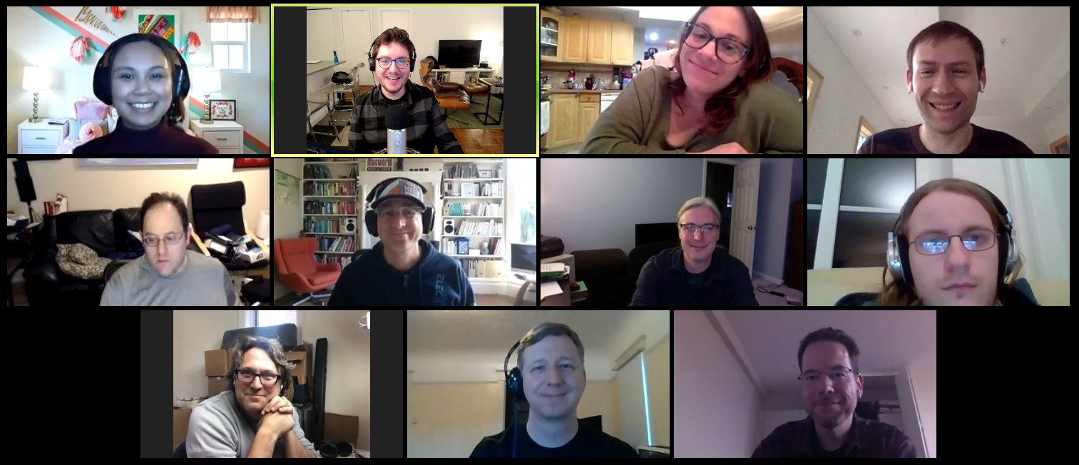 Screenshot of eleven people in a Zoom meeting