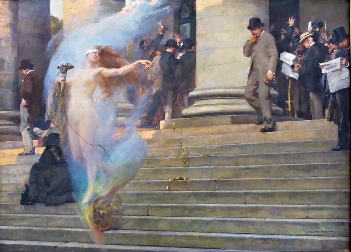 An oil painting depicting the mythological Fortune, her wheel underfoot, scooting down the steps of a circa-1900 building that might be a stock market. One businessman within a crowd notices her and looks on in amazement as she passes, showering gold with one hand. On her other side, a cowled and shadowed figure sits, slumped, on the stairs.
