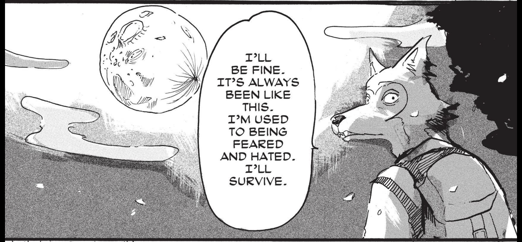 Manga art: an anthropomorphic wolf wearing a backpack walks under a full moon, speaking to someone off-panel. He says 'I'll be fine. It's always been like this. I'm used to being feared and hated. I'll survive.'