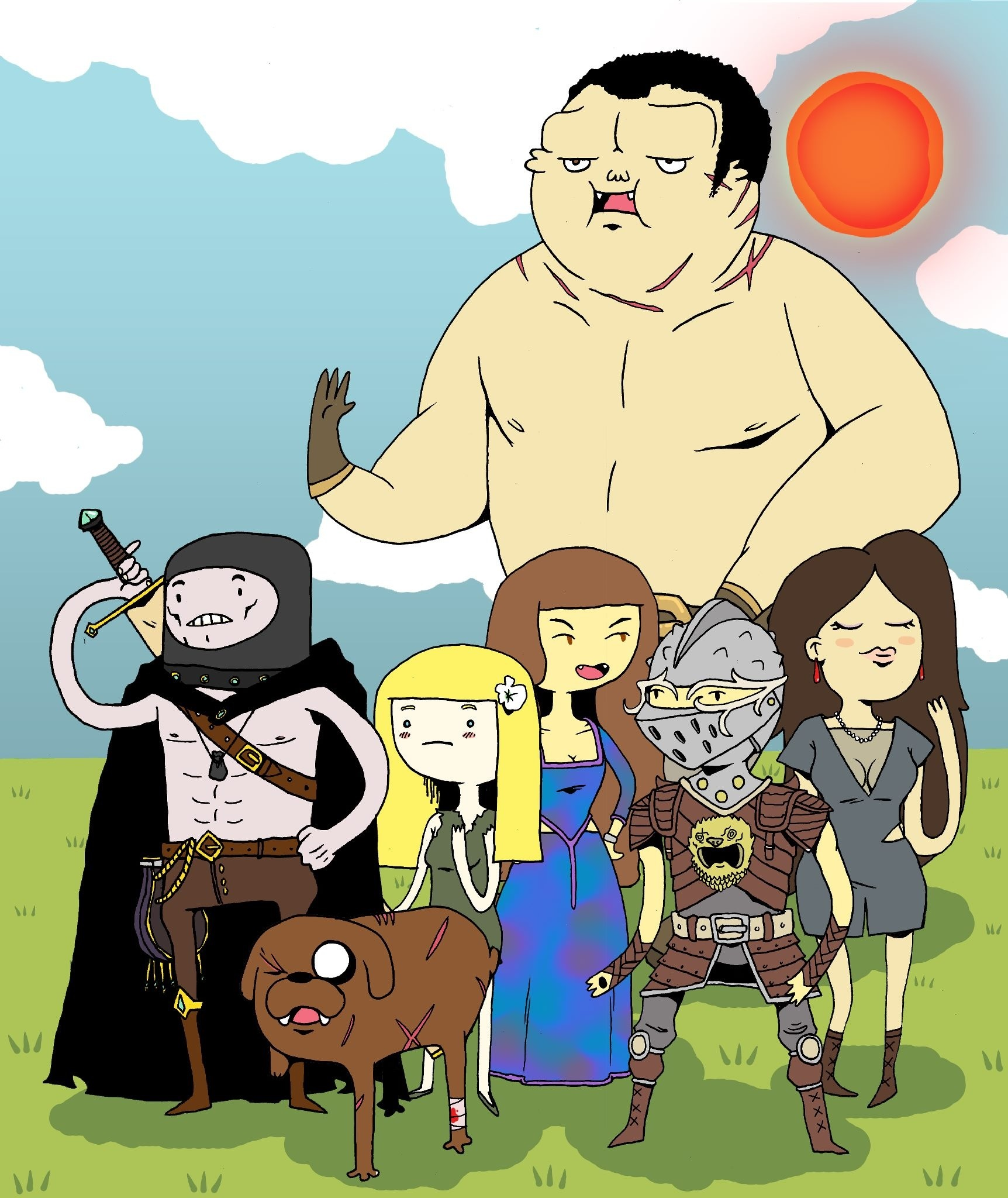 A cartoon of several characters from 'The Book of the New Sun', drawn in the style of 'Adventure Time'.