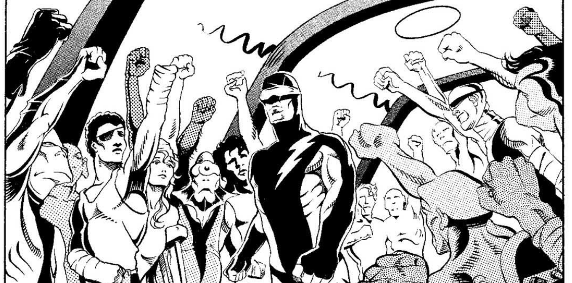 Drawing of the superhero Nexus walking down a corridor, surrounded by a variety of people -- home human, some alien, and several of whom look injured or maimed -- raising their fists in salute as he passes.