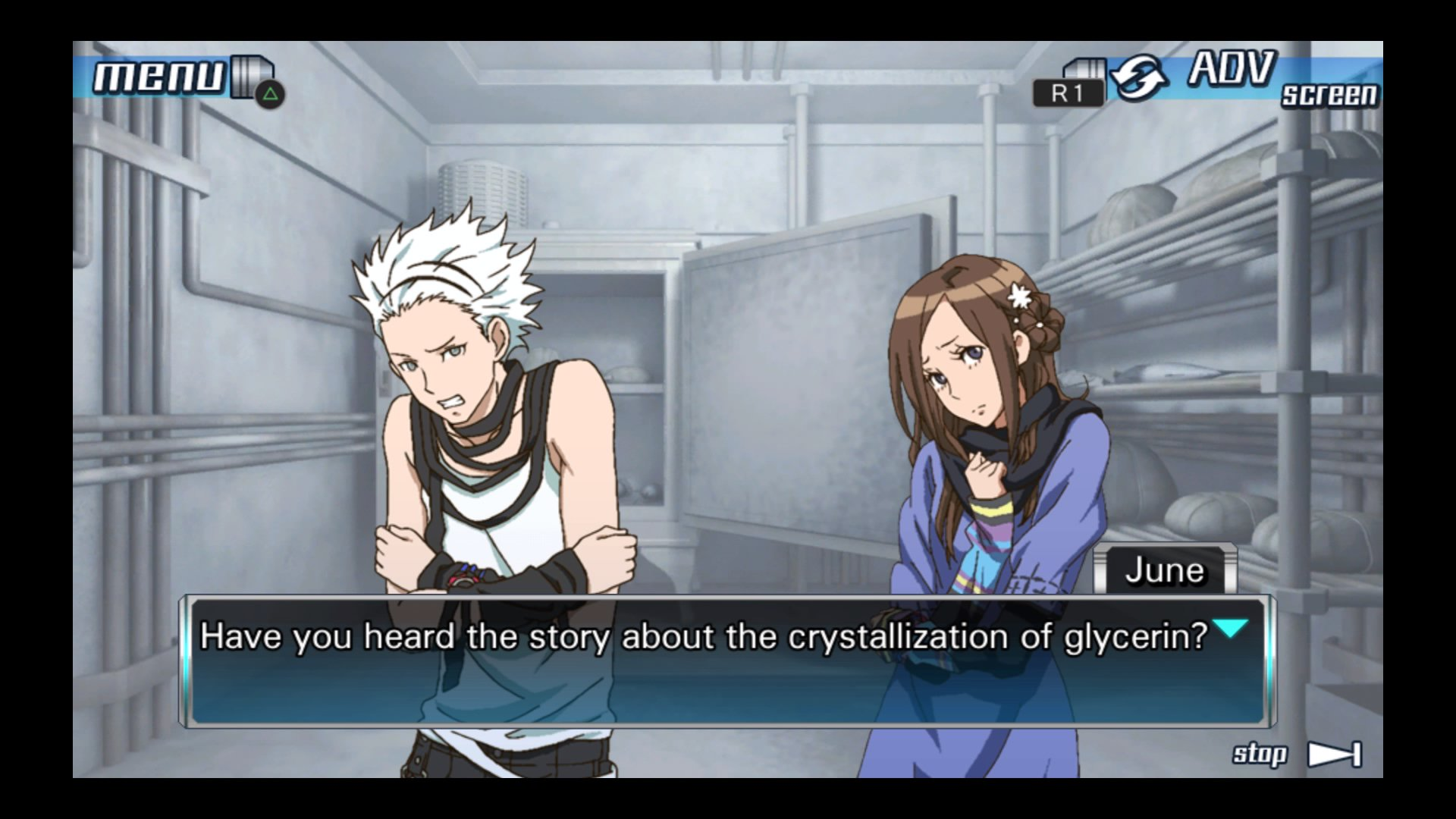 A visual-novel screenshot showing two anime-style characters, a young man and a young woman, standing in a walk-in freezer. The man is hugging himself against the cold. The woman looks pensive. A text box under them, labeled 'June', says: 'Have you heard the story about the crystallization of glycerin?'