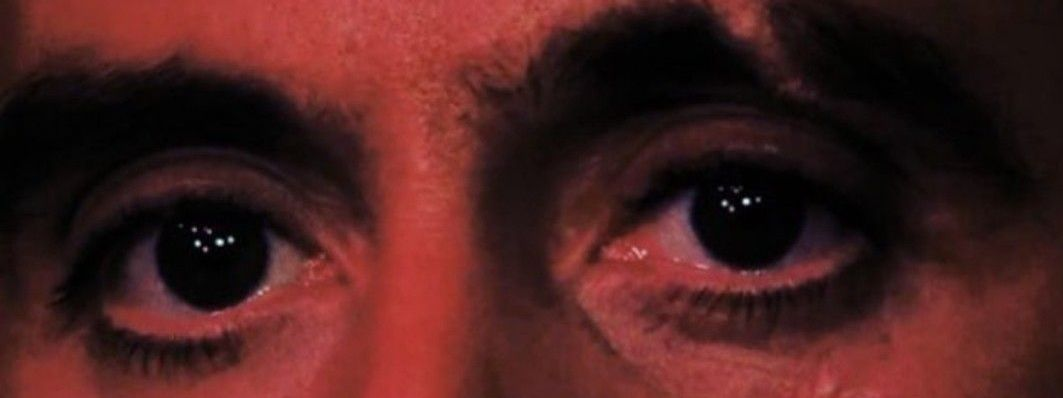 An extreme close-up of Al Pacino's staring eyes, as Tony Montana in 1983's 'Scarface'.
