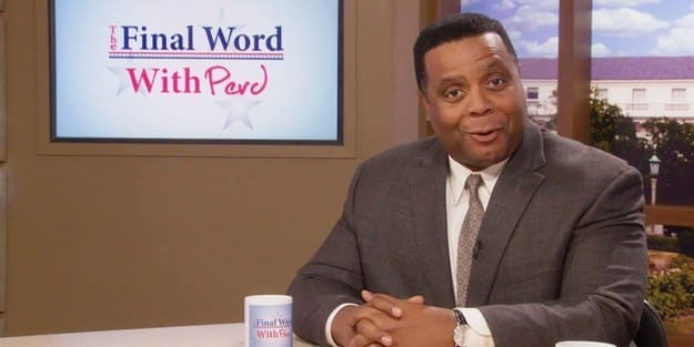 The 'Parks and Recreation' character Perd Hapley sits at his TV news desk, smiling and speaking to the camera, while a screen behind him reads 'The Final Word With Perd'.