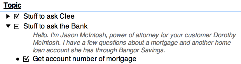 An example phone script: 'Hello, I am Jason McIntosh, power of attorney for your customer Dorothy McIntosh. I have a few questions about a mortgage and another home loan account she has through Bangor Savings.