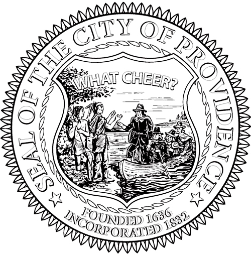 The seal of the City of Providence. Its center illustration depicts a man in Puritan garb greeting a party of American Indians. Over their heads is written 'WHAT CHEER?'.