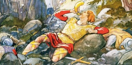 Brave, dying Roland, blowing his horn.