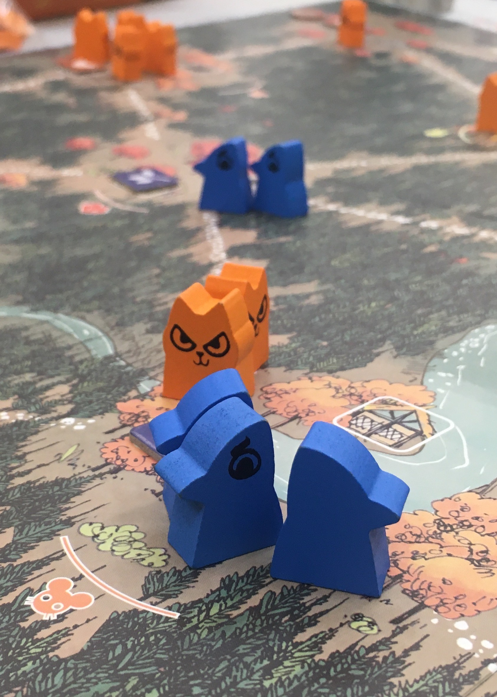 Photograph of a game board with orange and blue pieces on it. The orange pieces have smirking cat faces painted on them.