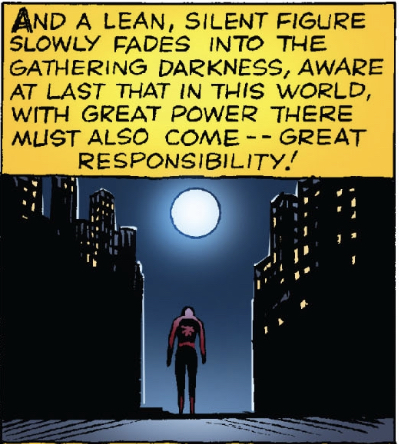A panel from the first Spider-Man story, depicting the title character walking away, into the darkness.
