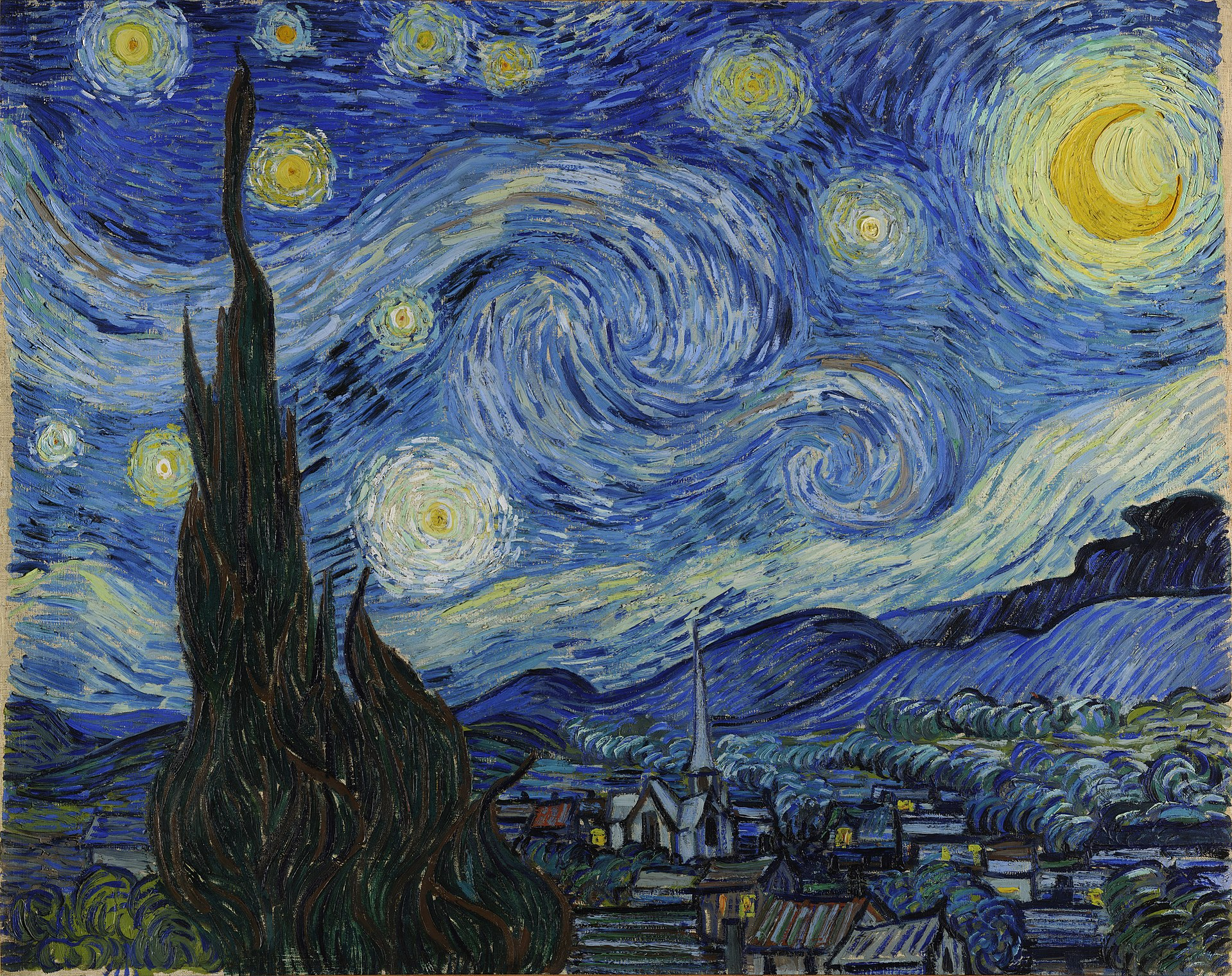 Van Gogh's 'The Starry Night', all swirls and spires.