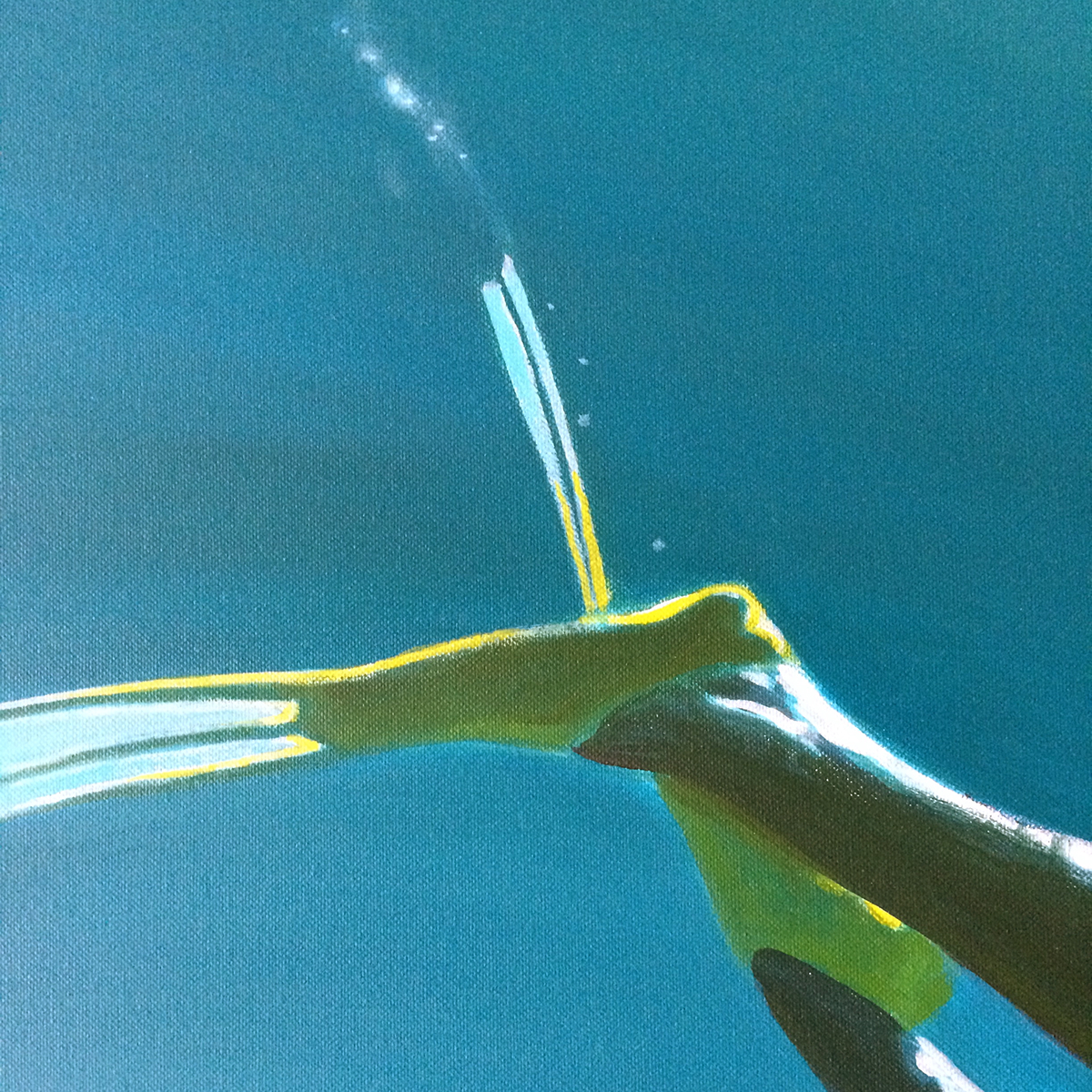 Detail of a canvas painting of a swimmer, focusing on their yellow-flippered feet, against an ocean-blue backdrop.