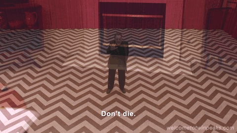 The mysterious Mike from episode 6 of Twin Peaks Returns, saying: Don't die.