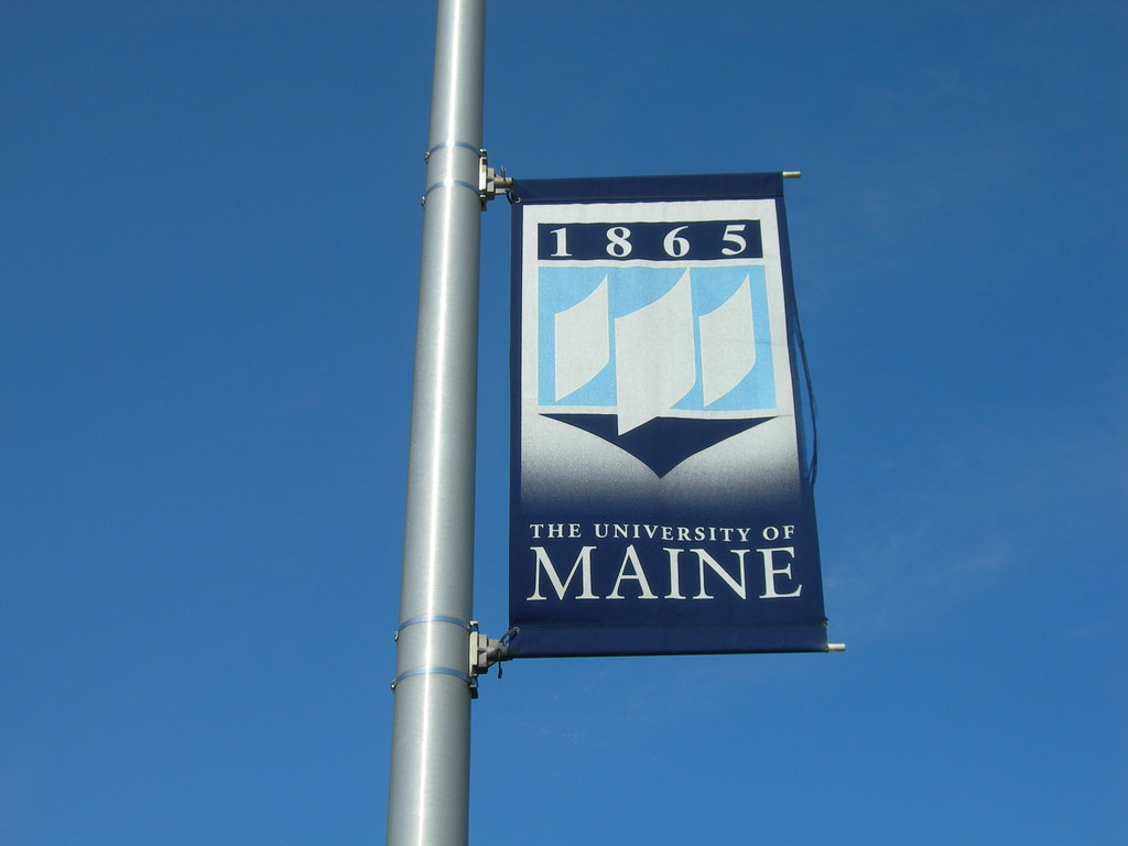Photograph of a University of Maine banner, attached to a street pole, set against a clear blue sky.
