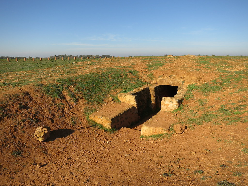 Photograph of a mysterious stone stairway leading into the pitch-black opening of a tomb-like underground structure, apparently excavated from a red-dusty field in the middle of nowhere.