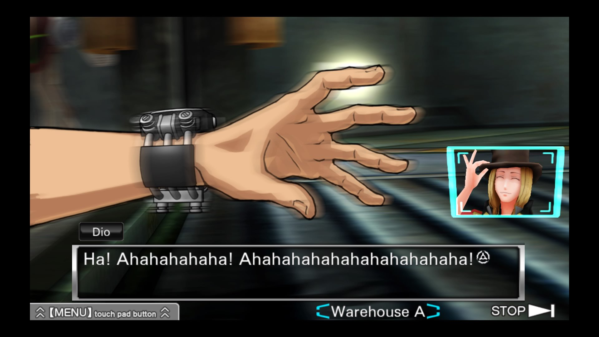 A video-game screenshot showing a hand reaching for someting, while a grinning, top-hat-wearing man labeled 'Dio' says 'Ahahahahahahahaha!'.