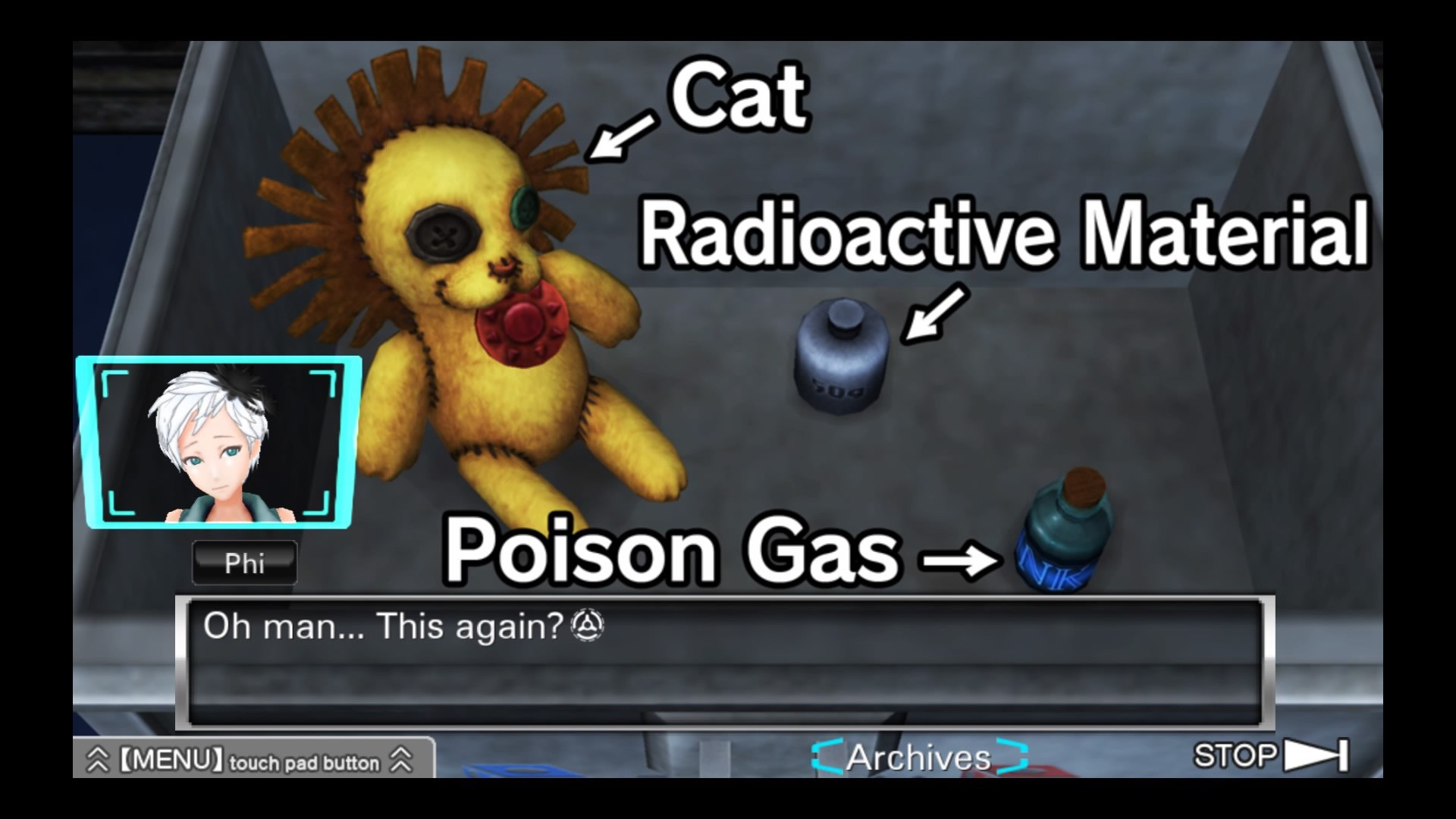 A video-game screenshot showing a box containing items labeled 'Cat', 'Radioactive material', and 'Poison gas'. A young woman, labeled 'Phi', is saying: 'Oh man... this again?'